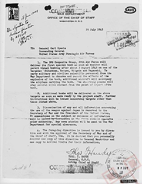 Naređenje generalu Spaatzu za uporabu atomskih bomba
