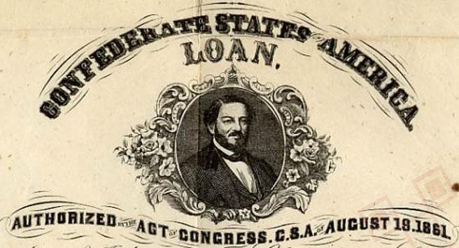 Slika prikazuje certifikat kojega su izdale Konfederacijske Američke Države dana 30. travnja 1862. godine