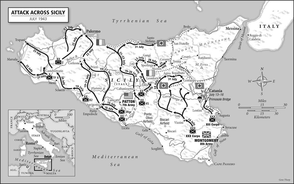 """Savezničko napredovanje do linije """"Etna""""."""