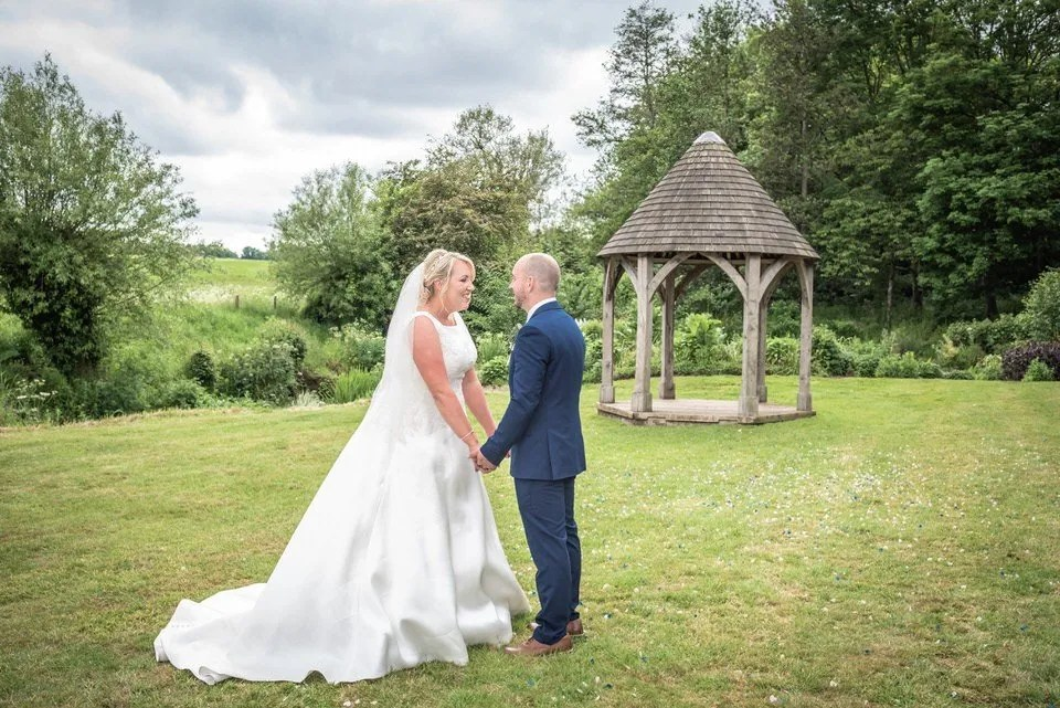 Bride and Groom on Their Wedding Day at Priston Mill in Somerset