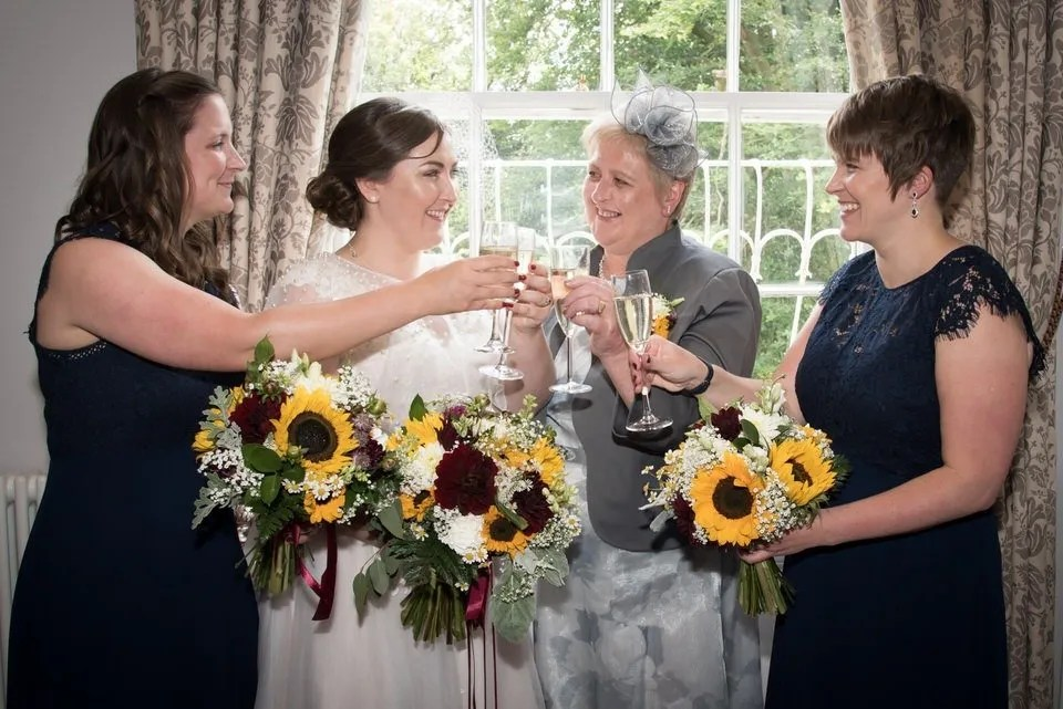 Bridal party at Bailbrook House in Bath
