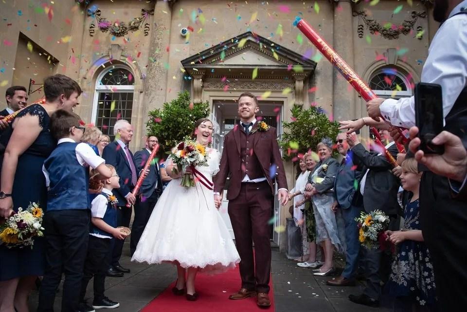 Wedding confetti at Bailbrook House in Bath