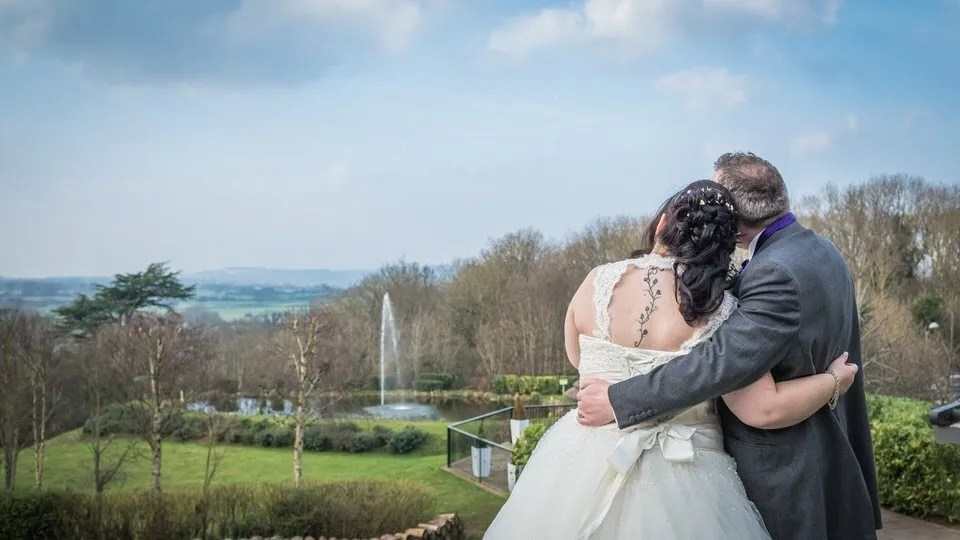 Bride and Groom on Their Wedding Day at Cadbury House in Bristol