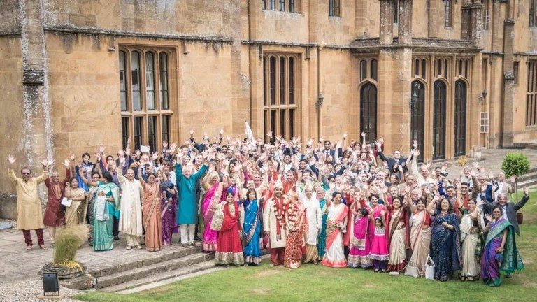 Indian wedding party at Dillington House in Somerset