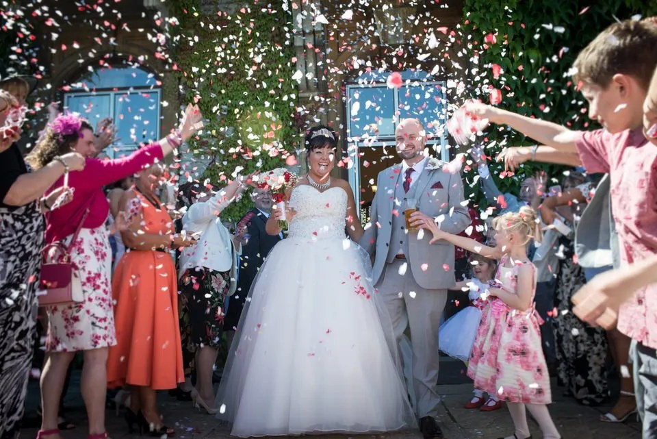 Wedding confetti at Eastwood Park in South Gloucestershire