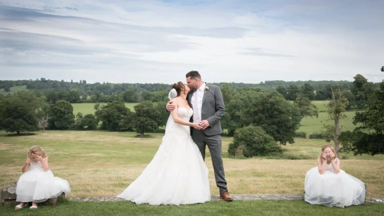Bride and Groom on their Wedding Day at Eastwood Park in South Gloucestershire