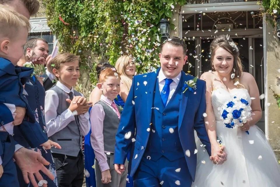 Wedding confetti at the Grange Mecure Hotel in Bristol