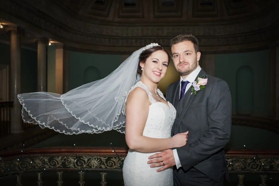 Bride and Groom on Their Wedding Day at Leigh Court in Bristol