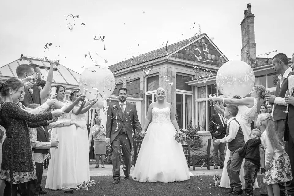 Wedding confetti at Leigh Park hotel in Wiltshire
