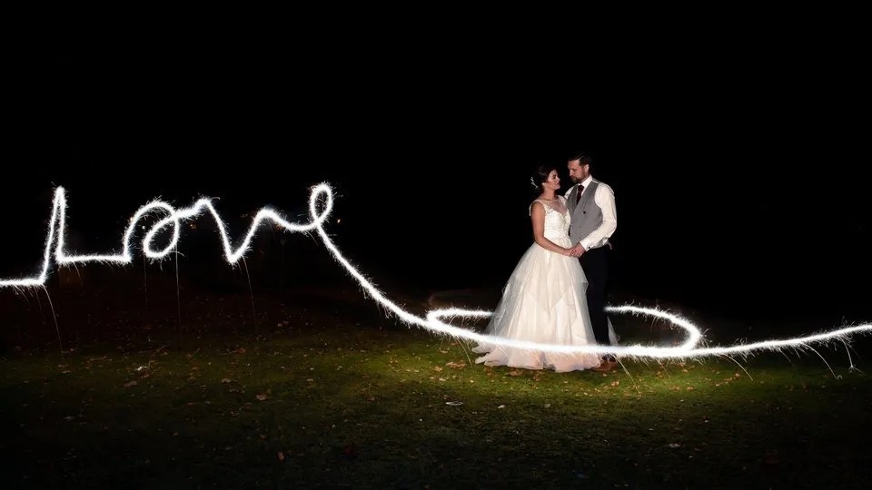 Wedding sparklers at Leigh Park hotel in Wiltshire