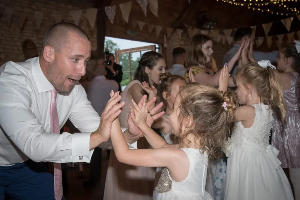 Wedding ceilidh at Mells Tithe Barn in Somerset