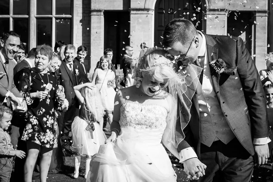Wedding confetti at Old Down Manor in Bristol