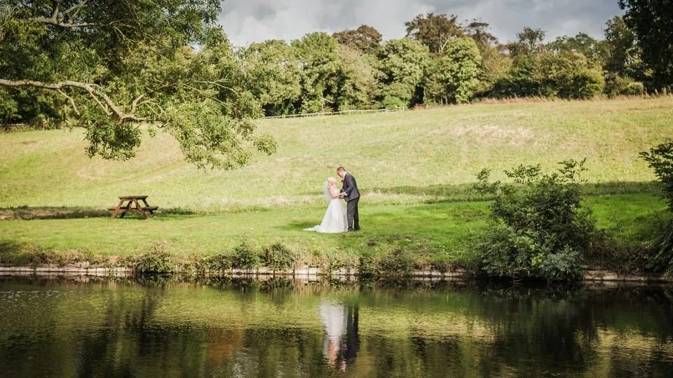 Bride and Groom on their wedding day at Old Down Manor in Bristol