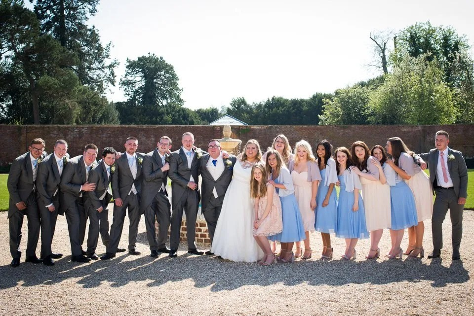 Wedding party at Orchardleigh Estate in Somerset