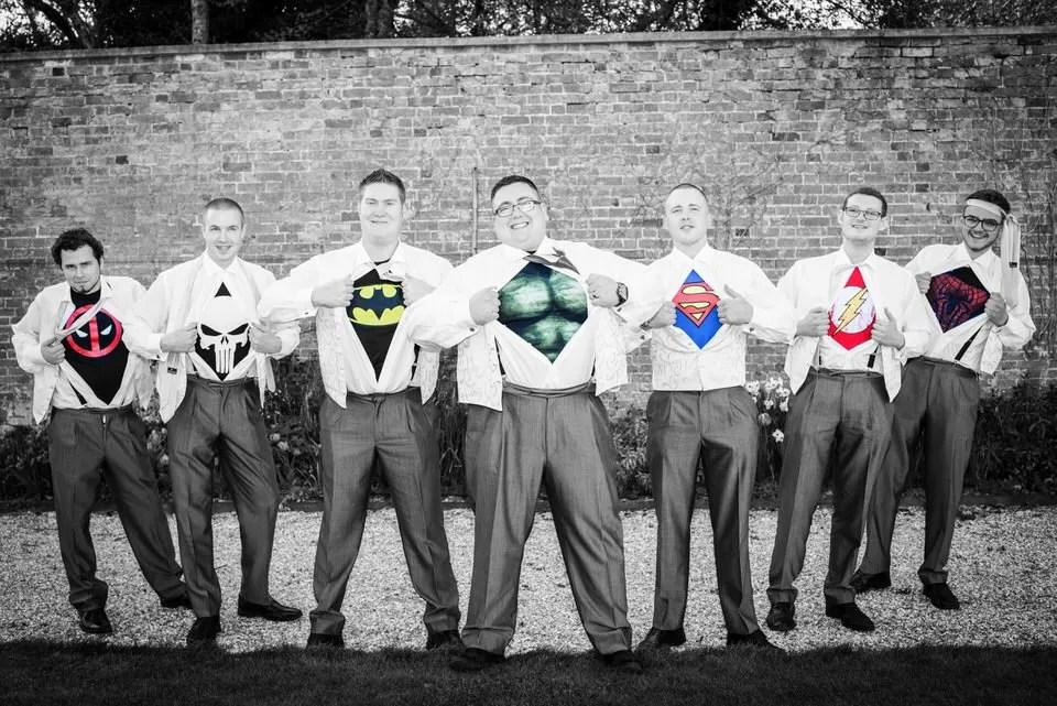 Superhero groomsmen at Orchardleigh Estate in Somerset
