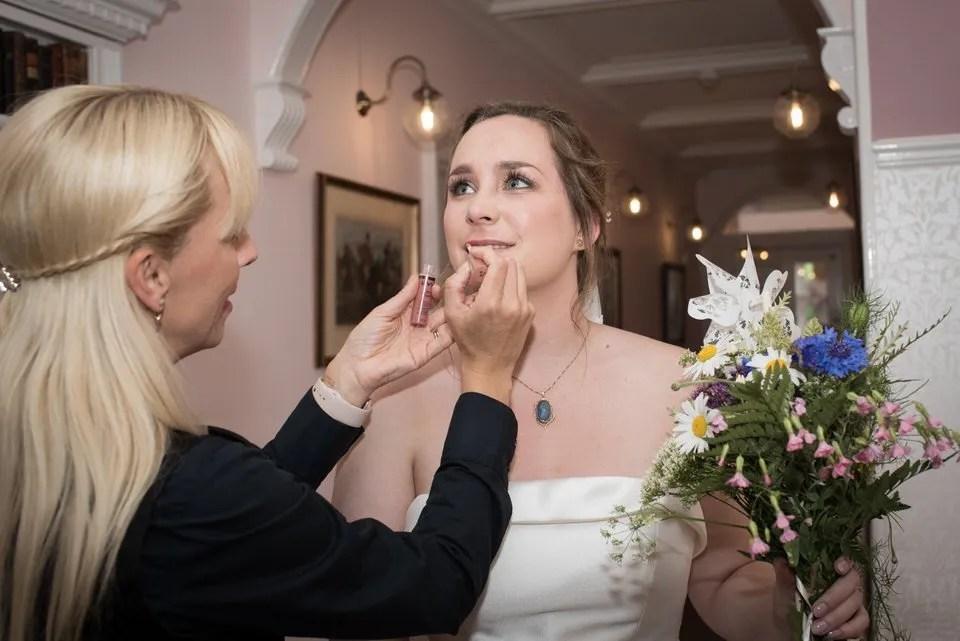 Wedding make up at Pashcoe House in Devon
