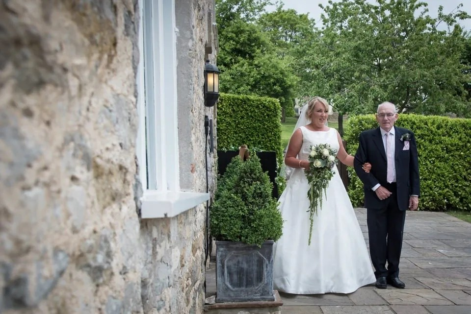 Bride and dad at Priston Mill