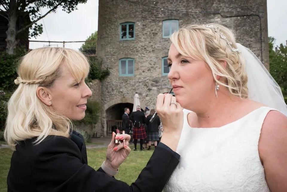Wedding makeup at Priston Mill in Somerset
