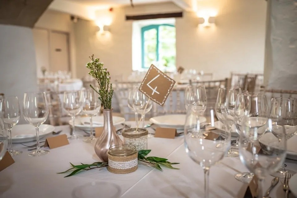 Wedding table settings at Priston Mill in Somerset