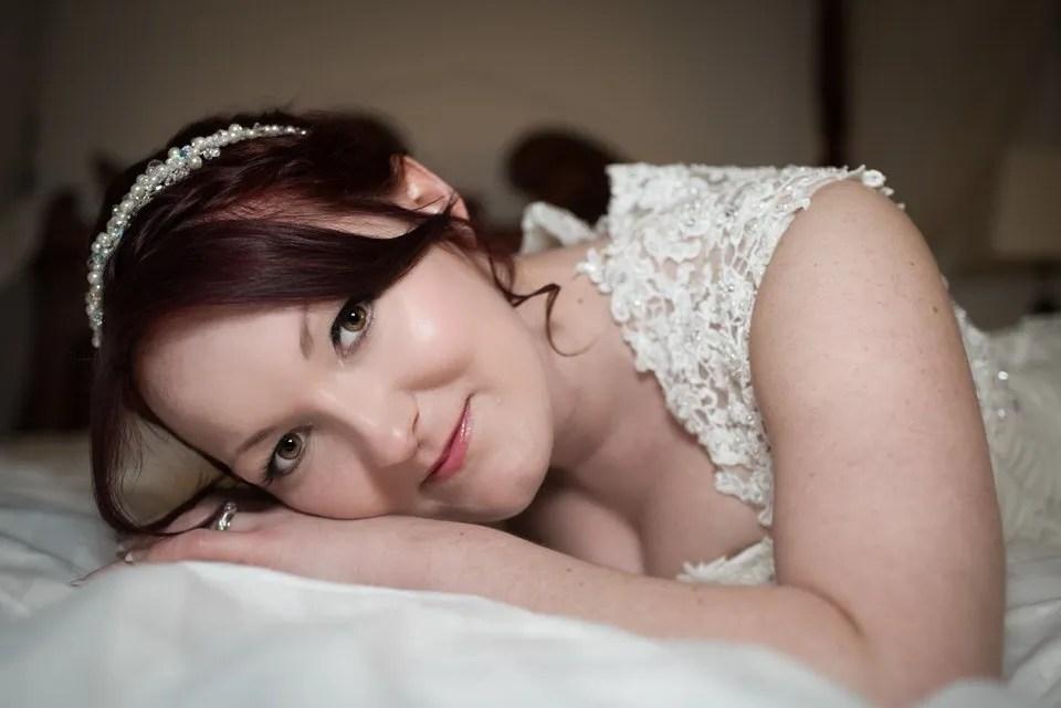 Bride on her wedding day at Tortworth Court in Bristol