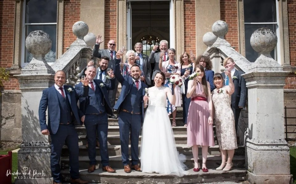 Crowcombe court wedding family photos on the steps