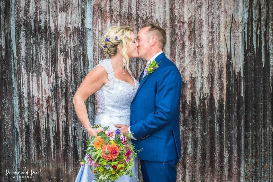 Beautiful wedding couple at an Oak barn wedding