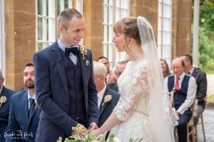 Bride and groom say their vows at Dillington House wedding