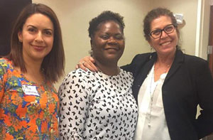 ECPR trainers Érica Ruvalcaba-Heredia and María Ostheimer, with Lisa Parks (center), trainer coordinator for Mid-Valley Behavioral Care Network at the 2-day eCPR training in Spanish in Salem, Oregon (October 17-18, 2018)