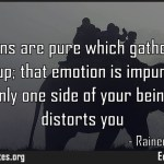 All emotions are pure which gather you and lift you up that emotion is impure