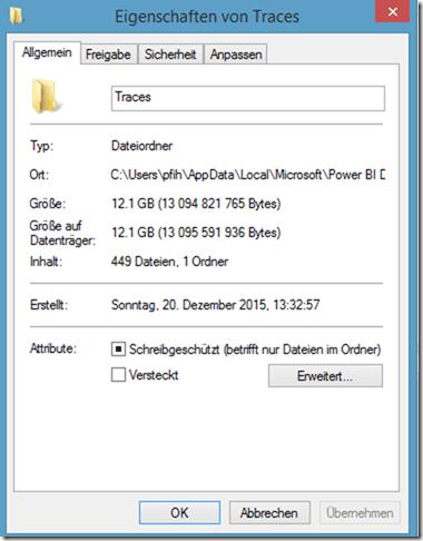 PBI Desktop Traces Speicher