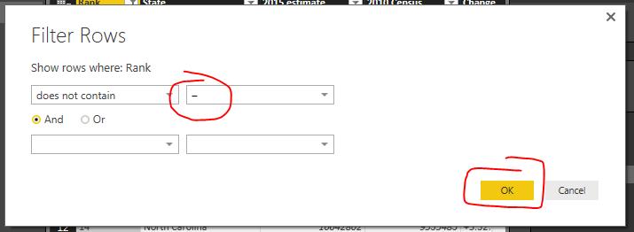Enter EM-Dash in Filter Rows Dialog
