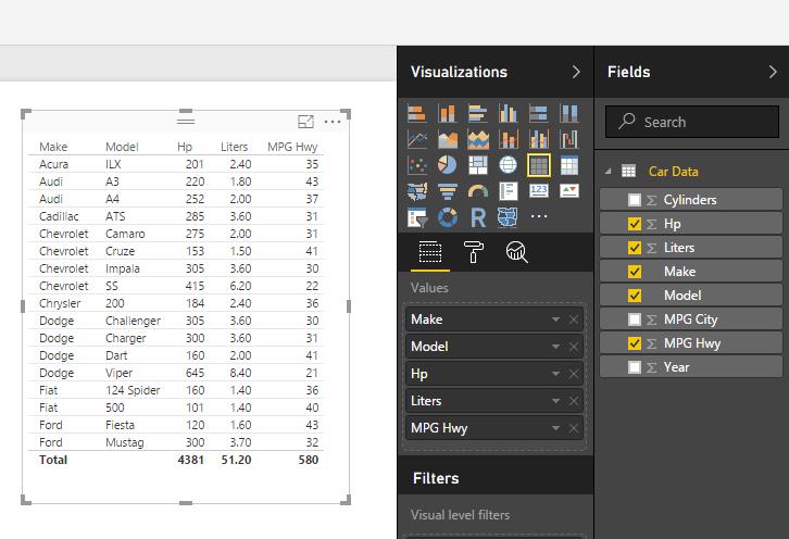 Table Visual