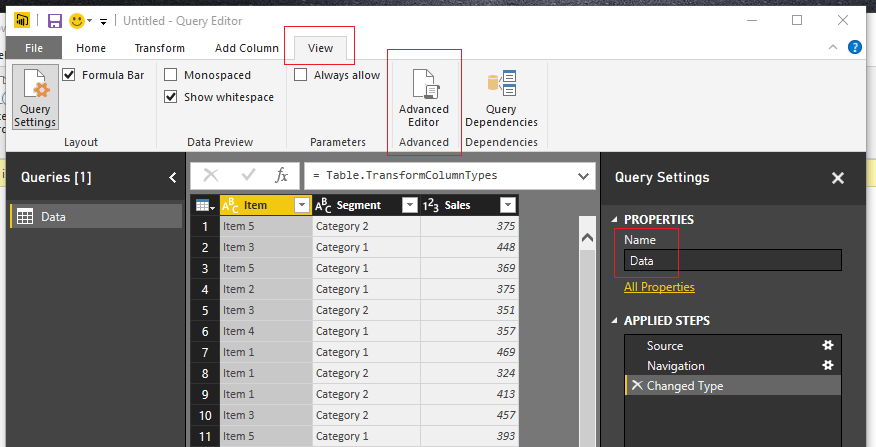 Load Data to Query Editor