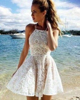 White Skater Dress Cut Out Spaghetti Straps Solid Color Summer Dress