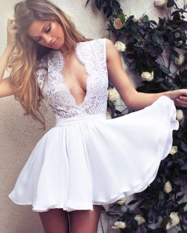 White Skater Dress Plunging Neck Lace Backless Summer Mini Dress