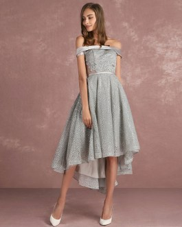 Asymmetrical Cocktail Dress Off The Shoulder Sleeveless A Line Party Dress
