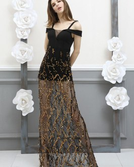 Black Party Dress Sequins Tulle Straps Semi Sheer Sexy Evening Dress