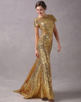 Mermaid Short Sleeve Evening Dresses With Train