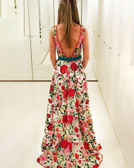 Floral Party Dress Maxi Formal Dress Backless Sleeveless Illusion Neckline Women Long Dress