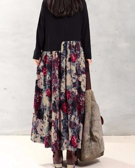 Floral Printed Patchwork Long Sleeve Maxi Dress