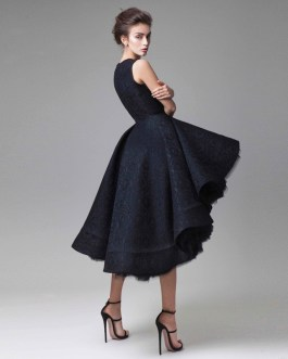 New Chic Prom Dresses Hand Made Flower Unique High Low Short Formal Party Dress Hot Knee Length Sleeveless Cocktail Dress