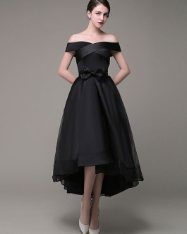 Prom Dress Asymmetrical A Line Organza Sash Bow A Line Evening Dress