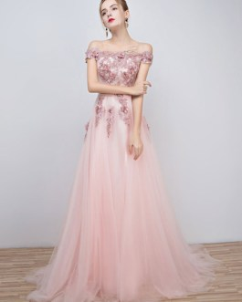 Long Tulle Off The Shoulder Lace Applique Beading Flower Prom Dress With Train