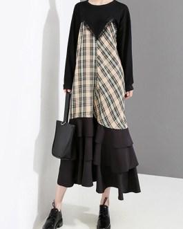 Ruffled Mid Long Long Sleeve Dresses