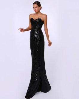 Sheath Sequined Sweetheart Neck Evening Dress