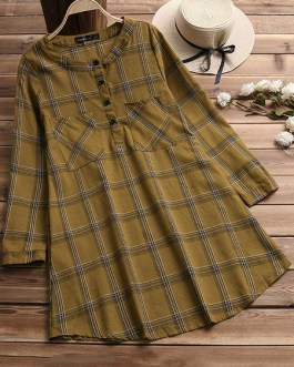 Stand Collar Long Sleeve Plaid Shirt Dress