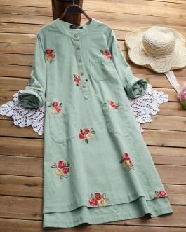 Irregular Embroidered Vintage Dresses