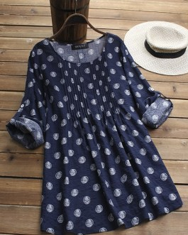 Long Adjustable Sleeve Vintage Blouse