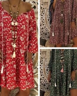 Loose Deep V Neck 3/4 Sleeve Midi Dress