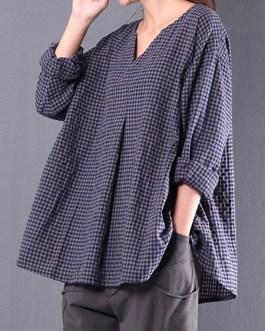 Plaid Long Sleeve Vintage Blouse